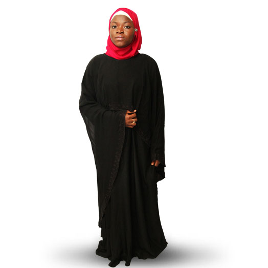 Modest Muslimah Fashionable Abaya with  High Low Cape