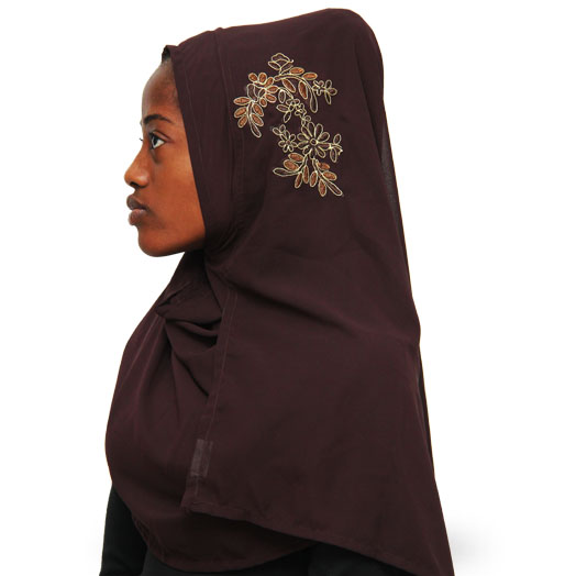 Beautiful Modest Floral Instant Hijab with Embroidery