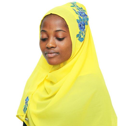 Modest Muslimah Yellow Instant Hijab with Blue Embroidery