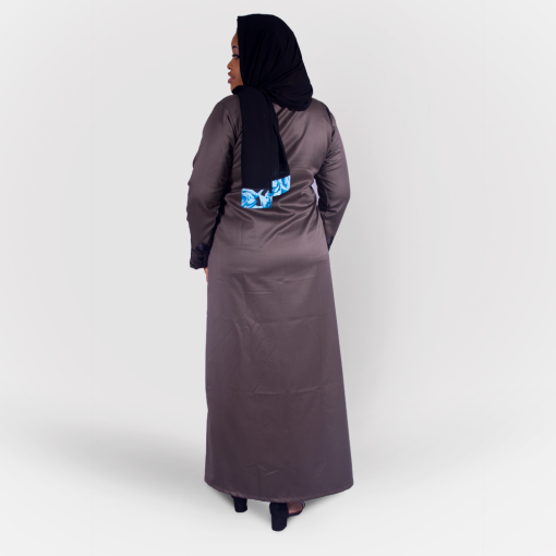 Habeebat_Beena_Grey_Abaya_with_Zipper Design