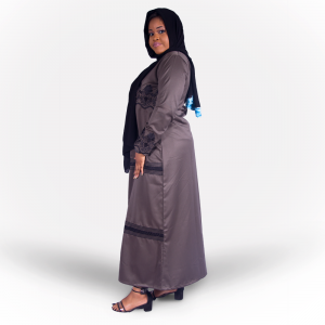Habeebat_Beena_Grey_Abaya_with_Zipper Design