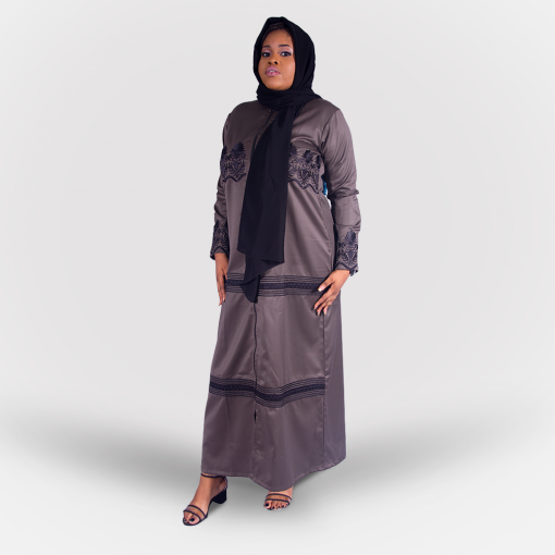 Habeebat_Beena_Grey_Abaya_with_Zipper Designs