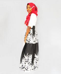 Habeebat_Black/White_Maxi_Skirt