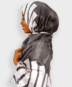 Habeebat Blackwhite Silk scarf