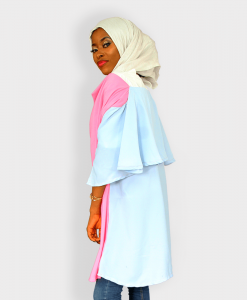 Habeebat Dripping Neck Pinkblue Blouse