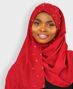 Habeebat Wine Pearled Instant Hijab