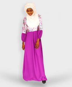 Habeebat Plain Floral Gown