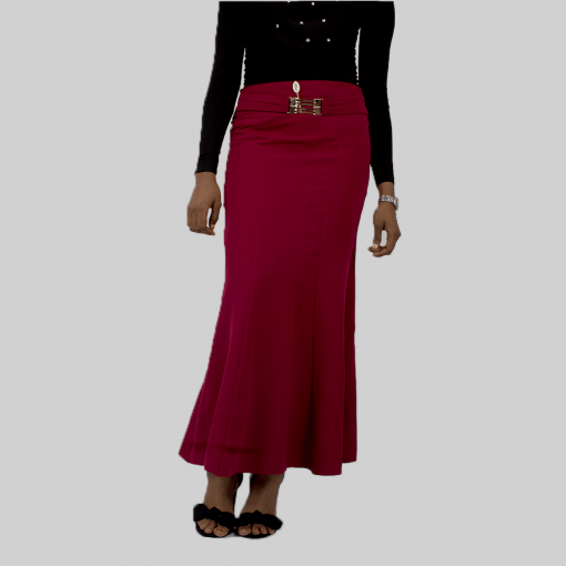 Habeebat_Batool_Wine_Flared_Skirt