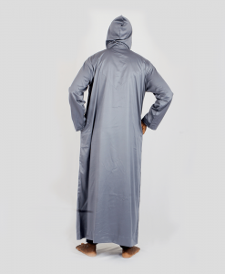 Habeebat Grey Hooded Jalamia with V design