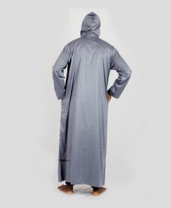 Habeebat Grey Hooded Jalamia with V design