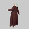 Habeebat Brown Pearled Open Abaya 2