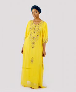 Habeebat Delkash Yellow Women Kaftan