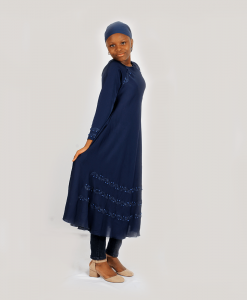 Habeebat Navy Blue Aaliyah Abaya with Pearls