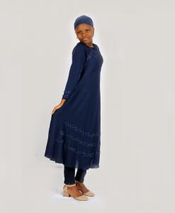 Habeebat Navy Blue Aaliyah Abaya with Pearls
