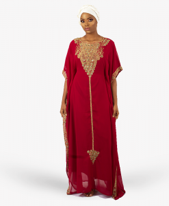 habeebat_Fathia_Red_Gold_Embroidered_Kaftan