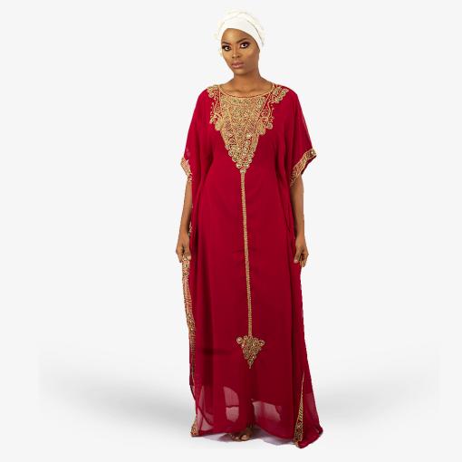habeebat_Fathia_Red_Gold_Embroidered_Kaftan