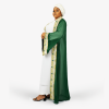 habeebat Kafeelah Green and White Kaftan 032A
