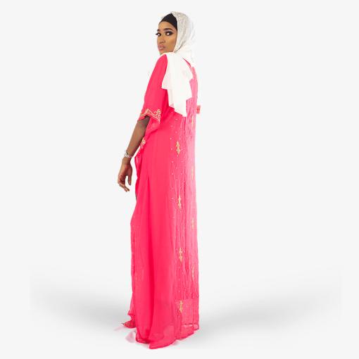 Habeebat_Zeemah_Gold_Embroidered_Pink_Kaftan