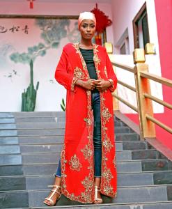 Habeebat Kalilah red stoned Kimono Abaya