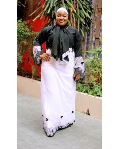 Habeebat Abeedah White & Black Abaya (