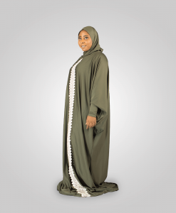 Habeebat Arwa Embroidered Grey Abaya Hijab `1a