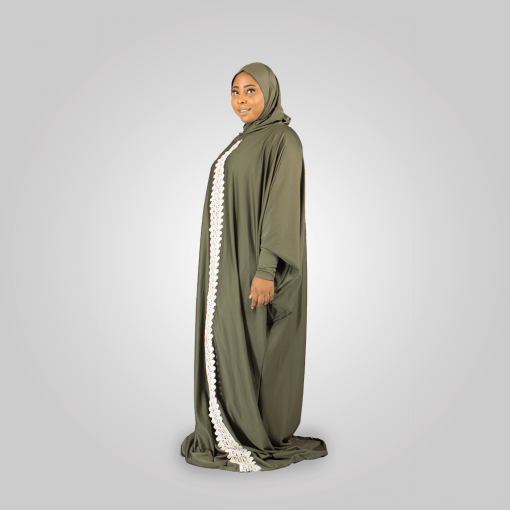 Habeebat Arwa Embroidered Grey Abaya Hijab `1a