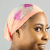 Habeebat Azraa peach Stoned Turban 1c